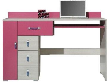 Kinderzimmer - Schreibtisch Felipe 13, Rosa / Weiß - Abmessungen: 86 x 130 x 55 cm (H x B x T)