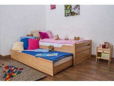 Kinderbett / Jugendbett Easy Premium Line K1/h Voll inkl. 2. Liegeplatz und 2 Abdeckblenden, 90 x 200 cm Buche Vollholz massiv Natur