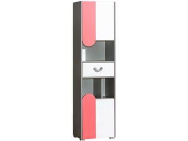 Jugendzimmer - Schrank Klemens 03, Farbe: Rosa / Weiß / Grau - Abmessungen: 190 x 50 x 38 cm (H x B x T)