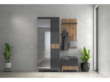Garderoben Komplett - Set C Vaitele, 3-teilig, Farbe: Anthrazit Hochglanz / Walnuss