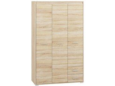 Drehtürenschrank / Kleiderschrank Mochis 01, Farbe: Sonoma Eiche hell inklusive 3 Farbeinsätzen - Abmessungen: 200 x 120 x 50 cm (H x B x T), mit 3 Türen, 2 Schubladen und 6 Fächern