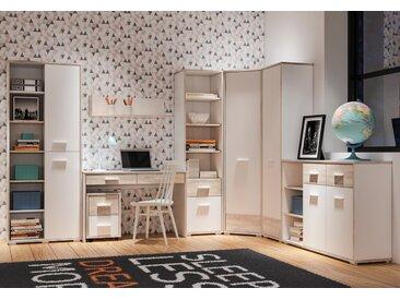 Jugendzimmer Set D Forks, 8-teilig, Farbe: Eiche / Weiß