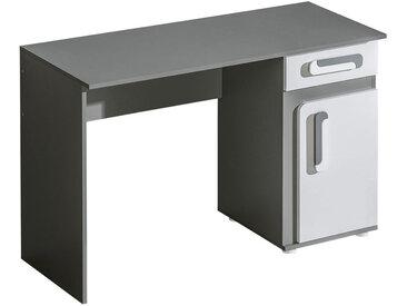 Jugendzimmer - Schreibtisch Oskar 09, Farbe: Anthrazit / Weiß - 80 x 120 x 50 cm (H x B x T)
