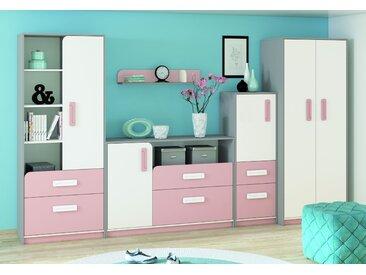 Kinderzimmer Set B Renton, 5-teilig, Farbe: Platingrau / Weiß / Puderrosa