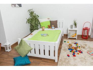 Kinderbett / Jugendbett Kiefer massiv Vollholz weiß lackiert 66, inkl. Lattenrost - Abmessung 100 x 200 cm
