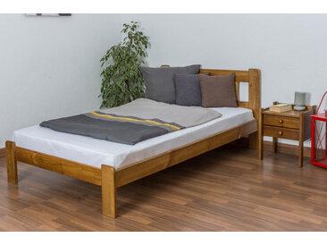 Einzelbett / Gästebett Kiefer Vollholz massiv Eichefarben A21, inkl. Lattenrost - Abmessung 120 x 200 cm
