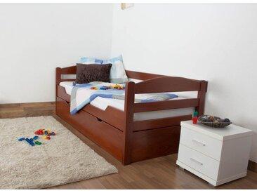 Kinderbett / Jugendbett Easy Premium Line K1/h/s inkl. 2. Liegeplatz und 2 Abdeckblenden, 90 x 200 cm Buche Vollholz massiv Kirschfarben