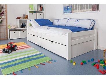 Kinderbett / Jugendbett Easy Premium Line K1/2n inkl. 2 Schubladen und 2 Abdeckblenden, 90 x 200 cm Buche Vollholz massiv weiß lackiert