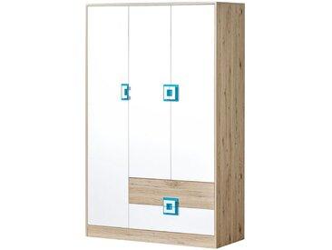Kinderzimmer - Drehtürenschrank / Kleiderschrank Fabian 03, Farbe: Eiche Hellbraun / Weiß / Blau - 190 x 120 x 50 cm (H x B x T)
