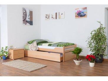 Einzelbett / Gästebett Easy Premium Line K1/1h inkl. 2. Liegeplatz und 2 Abdeckblenden, 90 x 200 cm Buche Vollholz massiv Natur