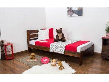 Kinderbett / Jugendbett Kiefer Vollholz massiv Nussfarben A27, inkl. Lattenrost - Abmessung 90 x 200 cm
