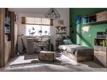 Jugendzimmer Komplett - Set D Cardozo, 6-teilig, Farbe: Eiche / Grau