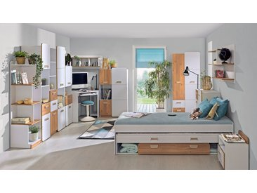 Jugendzimmer Komplett - Set M Dennis, 12-teilig, Farbe: Esche Weiß
