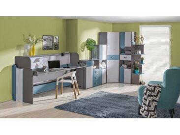 Jugendzimmer Komplett - Set A Klemens, 6-teilig, Farbe: Blau / Weiß / Grau