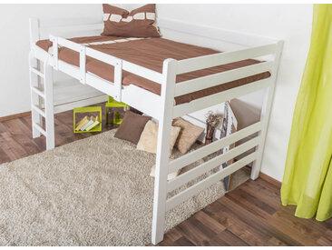 Hochbett für Erwachsene Easy Premium Line K15/n, Buche Vollholz massiv weiß lackiert, umbaubar - Liegefläche: 140 x 200 cm