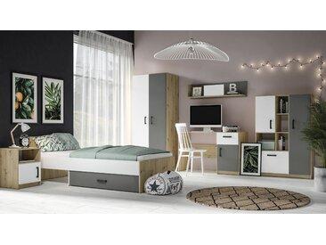 Jugendzimmer Komplett - Set B Sallingsund, 6-teilig, Farbe: Eiche / Weiß / Anthrazit