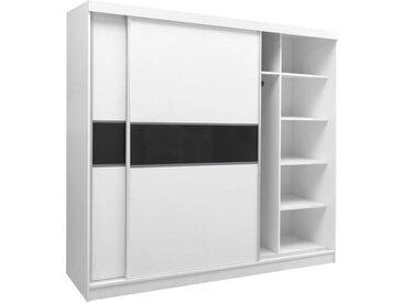 Schiebetürenschrank / Kleiderschrank Bermeo 02, Farbe: Weiß / Schwarz - 220 x 240 x 65 cm (H x B x T)