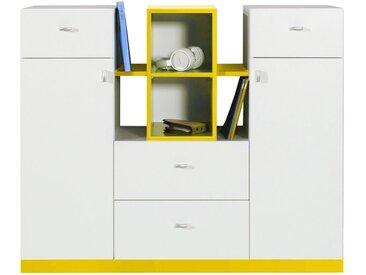 Jugendzimmer - Kommode Geel 31, Weiß / Gelb - Abmessungen: 100 x 120 x 40 cm (H x B x T)