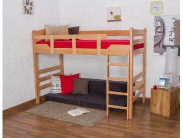 Hochbett für Erwachsene Easy Premium Line K14/n, Buche Vollholz massiv Natur - Maße: 90 x 200 cm