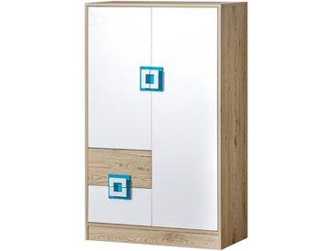 Kinderzimmer - Kommode Fabian 07, Farbe: Eiche Hellbraun / Weiß / Blau - 130 x 80 x 40 cm (H x B x T)