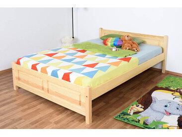 Kinderbett / Jugendbett Kiefer massiv Vollholz natur 77, inkl. Lattenrost - 140 x 200 cm (B x L)