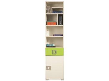 Jugendzimmer Regal Namur 06, Farbe: Grün / Beige - Abmessungen: 197 x 45 x 44 cm (H x B x T)