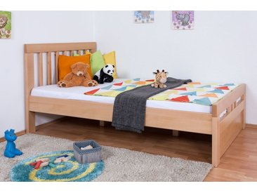 Kinderbett / Jugendbett Easy Premium Line K8 inkl. 1 Abdeckblende, 120 x 200 cm Buche Vollholz massiv Natur