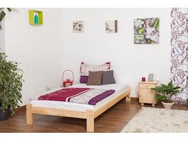 Einzelbett / Gästebett Kiefer Vollholz massiv natur A10, inkl. Lattenrost - Abmessung 120 x 200 cm