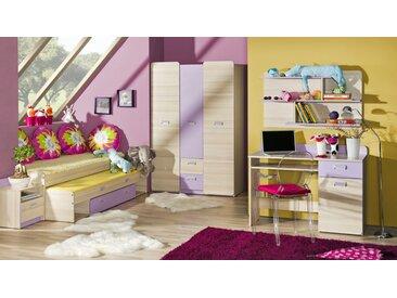 Jugendzimmer Komplett - Set G Dennis, 6-teilig, Farbe: Esche Lila