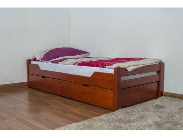 Einzelbett / Funktionsbett Easy Premium Line K1/1n inkl 2 Schubladen und 2 Abdeckblenden, 90 x 200 cm Buche Vollholz massiv Kirschfarben