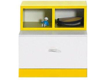 Jugendzimmer - Nachtkästchen Geel 38, Weiß / Gelb - Abmessungen: 40 x 40 x 35 cm (H x B x T)