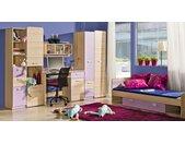 Jugendzimmer Komplett - Set H Dennis, 5-teilig, Farbe: Esche Lila
