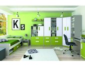 Kinderzimmer Komplett - Set J Renton, 9-teilig, Farbe: Platingrau / Weiß / Grün