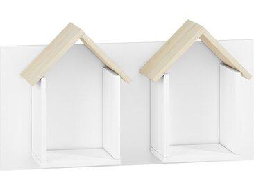 Kinderzimmer - Hängeregal / Wandregal Egvad 17, Farbe: Weiß / Buche - Abmessungen: 45 x 80 x 21 cm (H x B x T), mit 2 Fächern