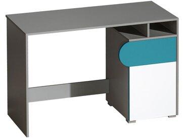 Jugendzimmer - Schreibtisch Klemens 08, Farbe: Blau / Weiß / Grau - Abmessungen: 78 x 120 x 53 cm (H x B x T)