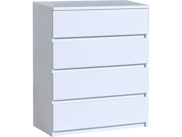 Jugendzimmer - Kommode Alard 05, Farbe: Weiß - Abmessungen: 94 x 80 x 40 cm (H x B x T)