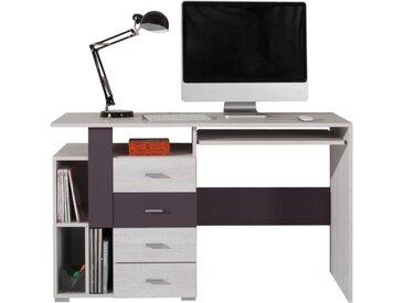 Jugendzimmer - Schreibtisch Emilian 13, Kiefer gebleicht / Dunkelgrau - Abmessungen: 76,50 x 125 x 55 cm (H x B x T)