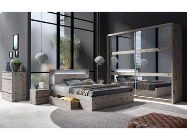 Schlafzimmer Komplett - Set Kamatero, 4-teilig, Eiche