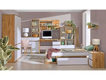 Jugendzimmer Komplett - Set B Alard, 10-teilig, Farbe: Eiche / Weiß