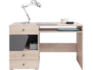 Jugendzimmer - Schreibtisch Chiny 09, Farbe: Eiche / Grau - Abmessungen: 76 x 125 x 55 cm (H x B x T)