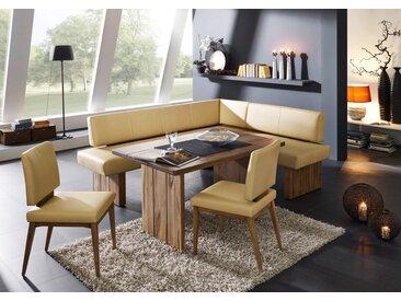 SUMMER | Moderne Eckbank in italienischem Leder und bestem Massivholz | Bestseller 295cm zusätzlicher Mittelfuß 155cm