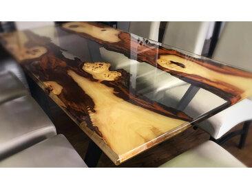 MIDDLE RIVER | Seltener Tisch aus Epoxidharz und Massivholz | MITTELFLUß 160cm 90cm