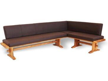 WINTER | Klassische Eckbank aus Massivholz | Kunstleder/Stoff 254cm 304cm zusätzlicher Mittelfuß