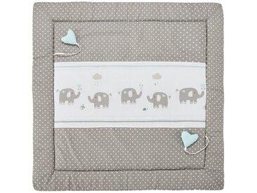 """Spiel- und Krabbeldecke  """"Eli"""" Elefant - beige - Bezug aus Webstoff (100% Baumwolle), Oberseite bedruckt, Füllung aus Polyestervlies (100% Polyester) - 100 cm - Möbel-Kraft"""
