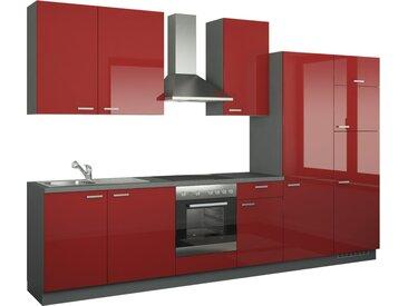 Küchenzeile mit Elektrogeräten - rot - 340 cm - Möbel-Kraft