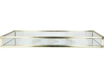 Spiegeltablett mit Federn - gold - Glas , Metall - Möbel-Kraft