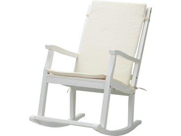 Schaukelstuhl aus Akazienholz - weiß - 62 cm - 105 cm - 94 cm - Möbel-Kraft