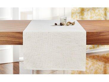 LAVIDA Tischläufer  Rip Lurex - creme - 100% Polyester - 40 cm - Möbel-Kraft