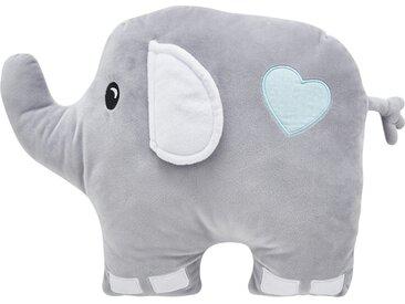 """Kuschelkissen  """"Eli"""" Elefant - grau - Bezug aus Supersoft Velour (100% Polyester) Oberseite bestickt Füllung aus Polyestervlies (100% Polyester) - 32 cm - Möbel-Kraft"""