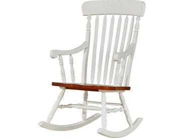 Schaukelstuhl aus Holz - weiß - Möbel-Kraft